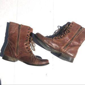 Steve Madden Brown Leather Combat Boots Size 8.5